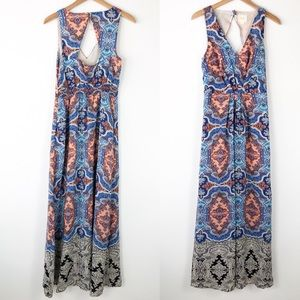 Anthropologie Maeve Silk Medallion Maxi Dress